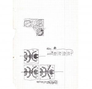 Immagine dell bozze reralizzate a mano di Crunch, il primo videogioco di Carlo Santagostino