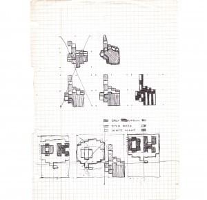Immagine delle bozze di Durlindana sul quaderno di Carlo