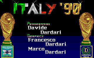 La schermata iniziale di Italy '90 Soccer per Amiga