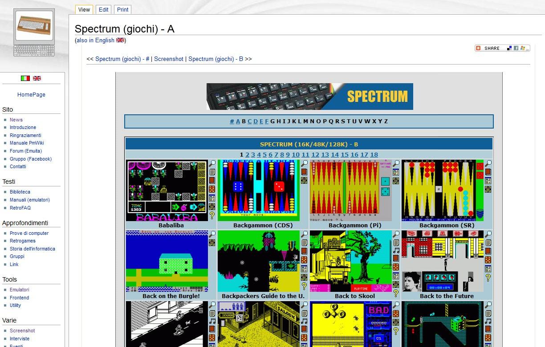Screenshot globale della sezione Screenshot