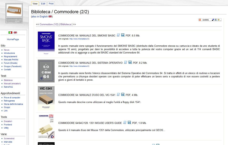 Screenshot della sezione Biblioteca/Commodore