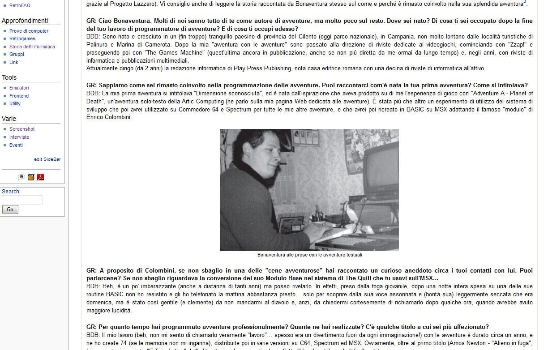 Screenshot della sezione Interviste
