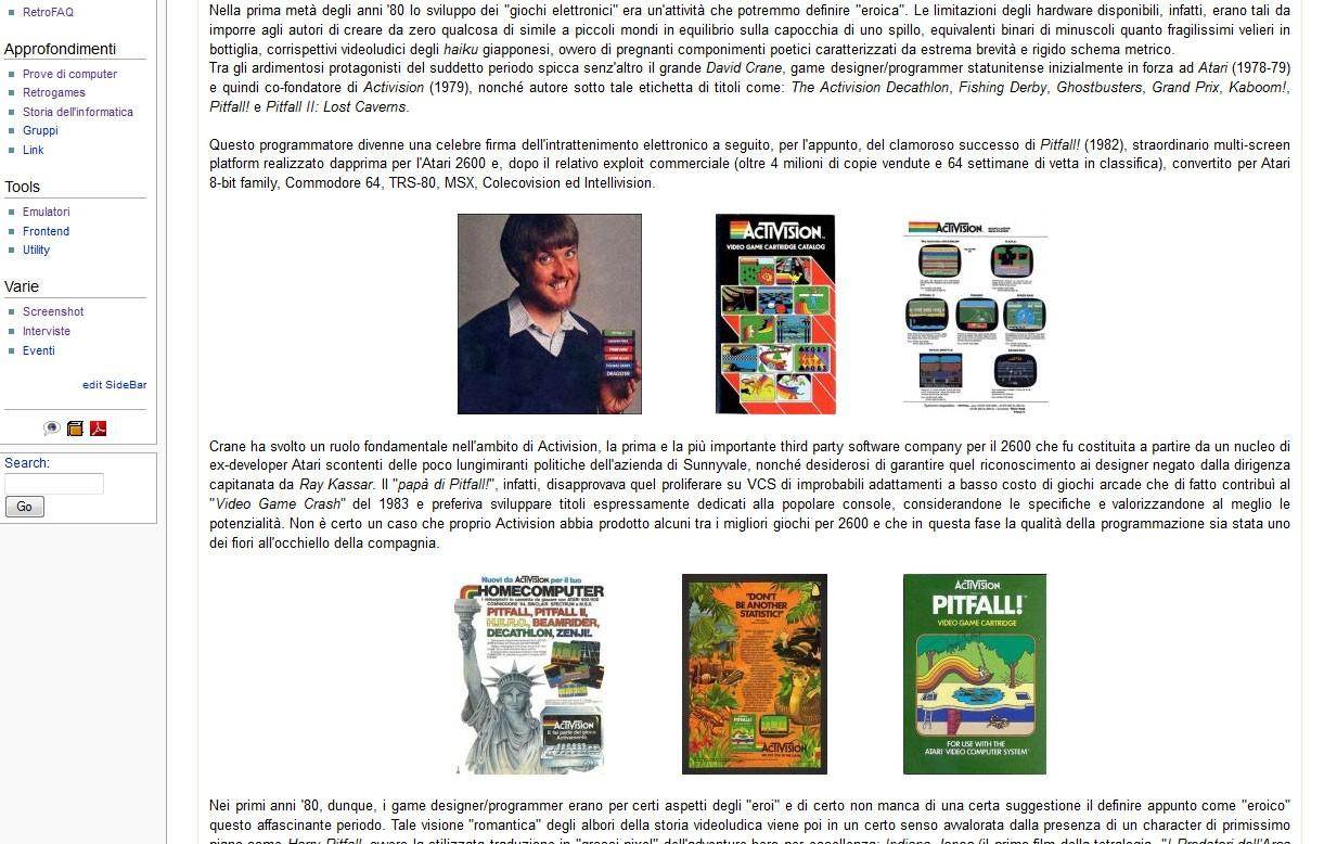Screenshot della sezione Retrogames