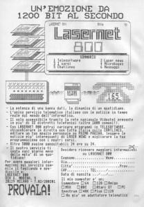 La pubblicità di Lasernet 800 dell'epoca