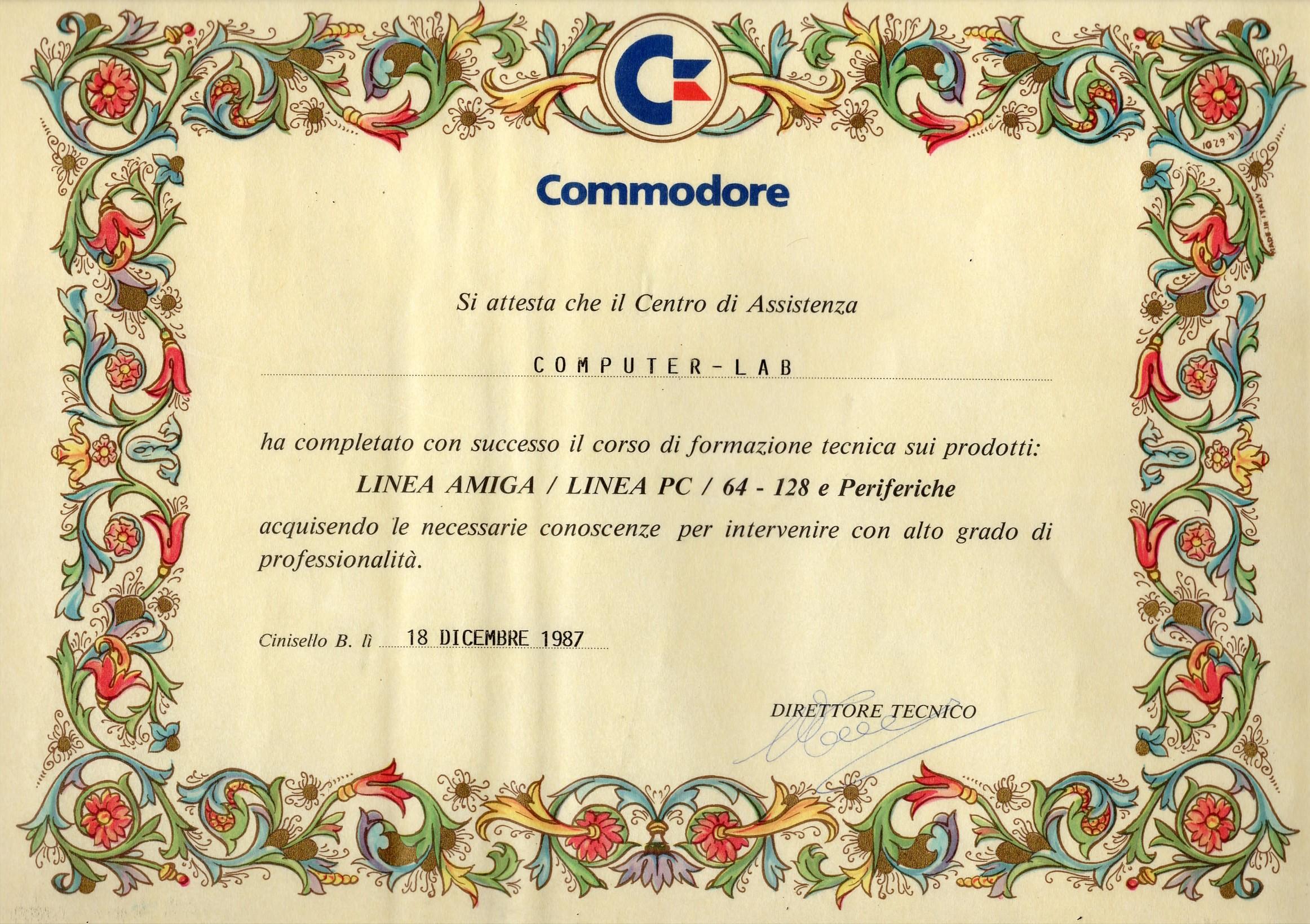 """Lo """"storico"""" certificato rilasciato da Commodore Italiana a Computer Lab"""
