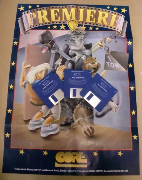 I tre floppy disk di Premiere con il poster omaggio incluso nella scatola