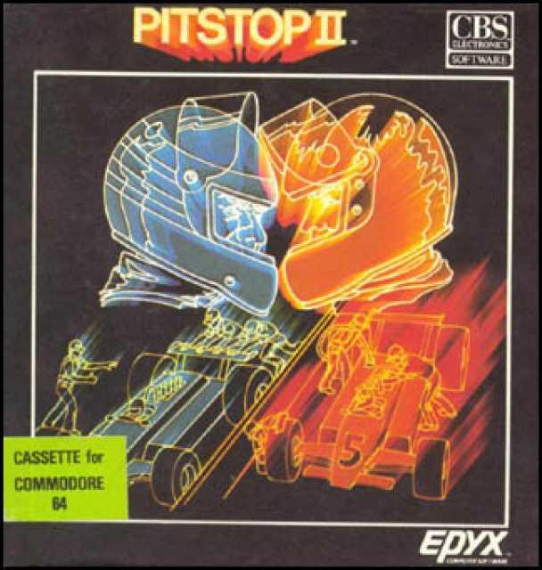 La cover cassetta di Pit Stop II per C64