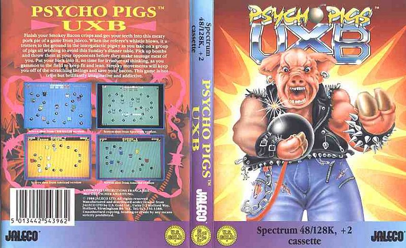 La Tape Cover di Psycho Pigs UXB per ZX Spectrum...