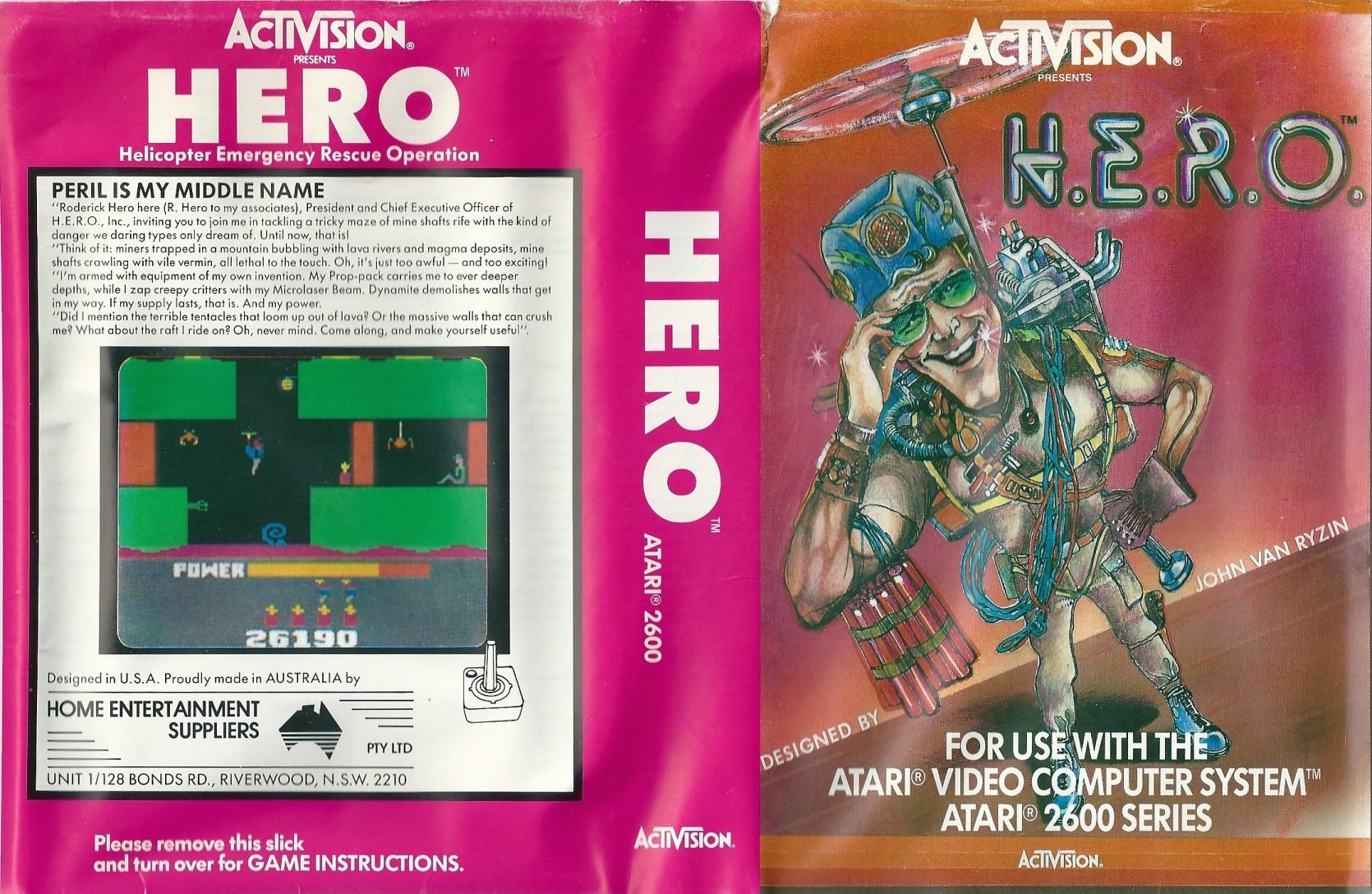 La cover di H.E.R.O in versione Atari 2600