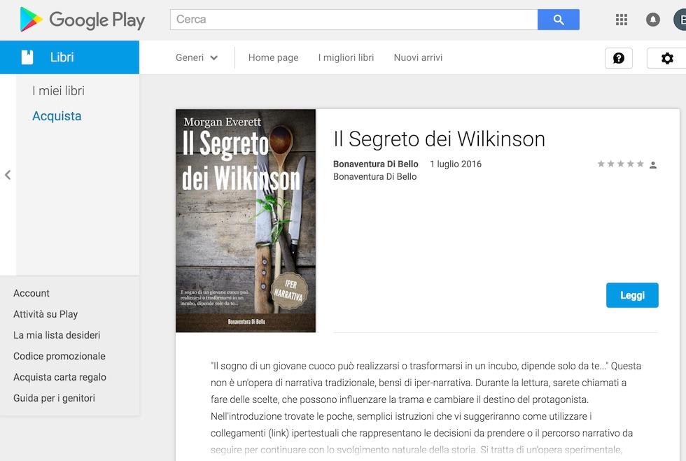"""""""Il segreto dei Wilkinson"""" scaricabile da Google Play Store"""