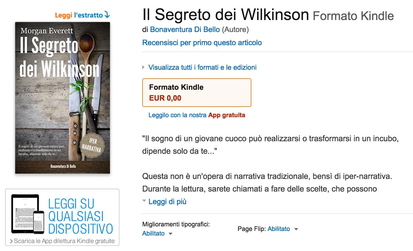 """""""Il segreto dei Wilkinson"""" in formato Kindle"""