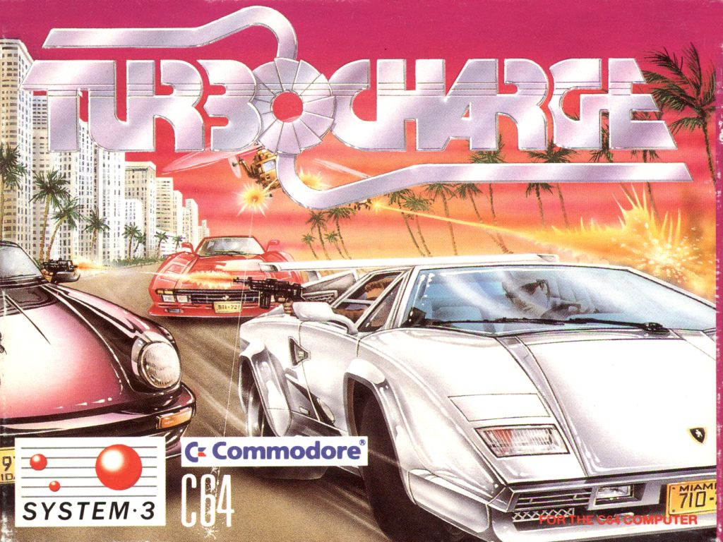 La bellissima cover di Turbo Charge per Commodore 64...A me ricorda la serie Miami Vice e a voi?